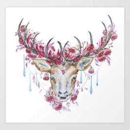 Watercolor Reindeer Art Print