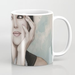 Monica Bellucci portrait. Woman portrait, Jewelry. Coffee Mug
