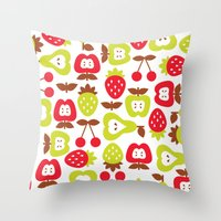 shabby chic Throw Pillows featuring Shabby Chic Fruits Pattern by totallyjamie