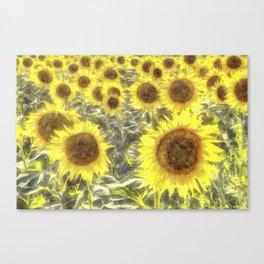 Sunflower Fields Of Summer Watercolour Canvas Print