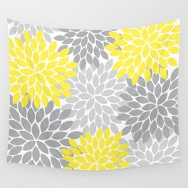 Yellow Gray Flower Burst Petals Floral Pattern Wall Tapestry