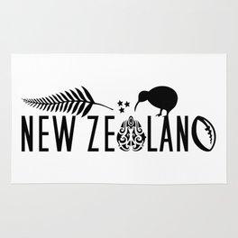 New Zealand Icons - Maori Kiwi Fern Rugby Rug