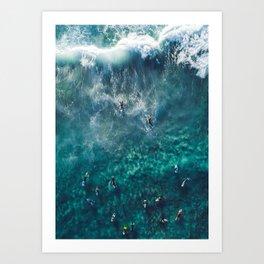 Surfing in the Ocean 2 Art Print
