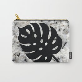 Tropical Leaves on Marble - Monstera I Carry-All Pouch