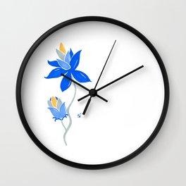 Abstract blue flower Wall Clock