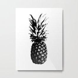 Black and White Pineapple Metal Print