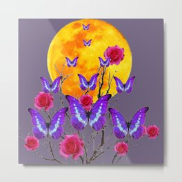 PURPLE COLOR  FULL MOON PURPLE BUTTERFLIES Metal Print