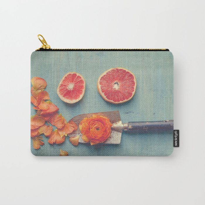Grapefruit and Flowers Carry-All Pouch