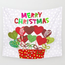 Christmas design Cake pops set with bow gray background with snowflakes. Wall Tapestry