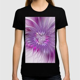 Pink Flower Passion, Abstract Fractal Art T-shirt