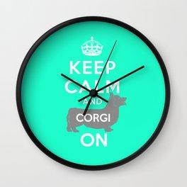 keep calm and corgi on Wall Clock