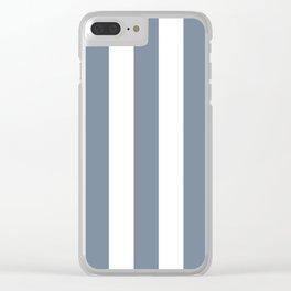 Light slate gray - solid color - white vertical lines pattern Clear iPhone Case