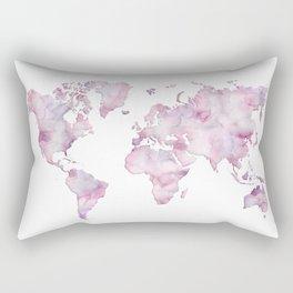 Lavander and pink watercolor world map Rectangular Pillow