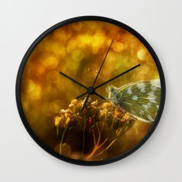 Butterfly on flower Wall Clock