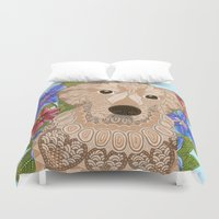 golden retriever Duvet Covers featuring Golden Retriever by ArtLovePassion