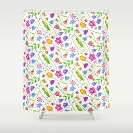 Spring Floral Watercolor Pattern Shower Curtain