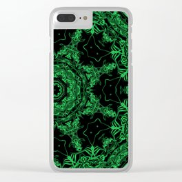 Green and Black Kaleidoscope 3 Clear iPhone Case