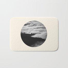 Intense Fog & Mountain Silhouette Black & White Round Photo Bath Mat
