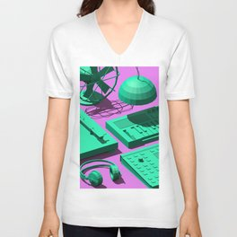 Low Poly Studio Objects 3D Illustration Unisex V-Neck