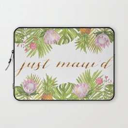 Just Maui'd - Tropical Leaves & Flowers / Gold Script / Pink, Green, White Laptop Sleeve