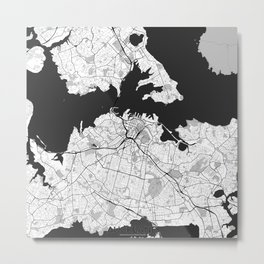 Auckland Map Gray Metal Print