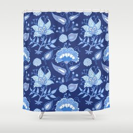 Dark and light blue Indian floral pattern Shower Curtain