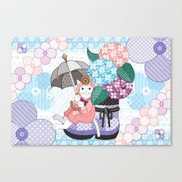 """Hydrangea and snail"" Canvas Print"