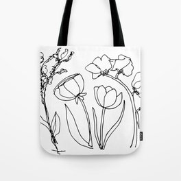 Floral Scribble Tote Bag