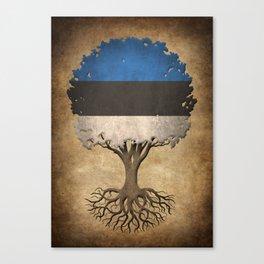 Vintage Tree of Life with Flag of Estonia Canvas Print