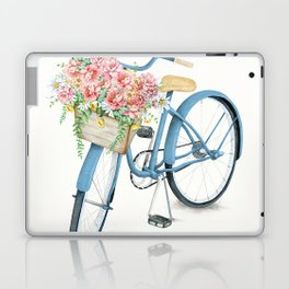 Blue Bicycle with Flowers in Basket Laptop & iPad Skin