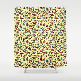 Off-Beat Geometric Pieces - Decorative Pattern Design Shower Curtain