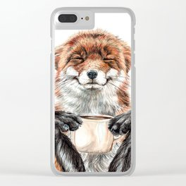 """"""" Morning fox """" Red fox with her morning coffee Clear iPhone Case"""