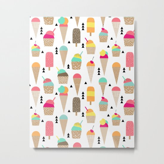Ice Cream tropical summer spring central park new york city geometric food sweet treat dessert Metal Print