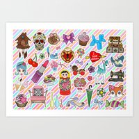 stickers Art Prints featuring I Love Stickers by Jade Boylan