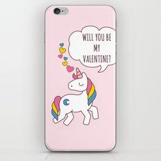 Unicorn Be my Valentine iPhone & iPod Skin
