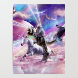 Laser Eyes Space Cat On Dinosaur Unicorn - Rainbow Poster