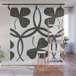 Grey on White Clover Pattern Wall Mural