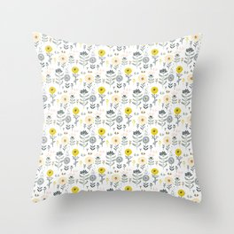 Cute spring flowers pattern pastel colors Throw Pillow