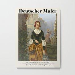 Vintage poster Deutscher Maler. Gretchen am Brunnen aus Goethes Faust. Metal Print