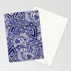 Modern navy blue indigo floral hand drawn pattern Stationery Cards