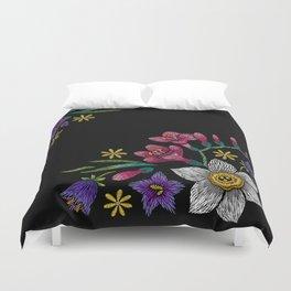Embroidered Flowers on Black Corner 02 Duvet Cover