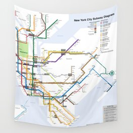 New York Subway Map Wall Tapestry