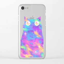 Pastel Galaxy Cat Clear iPhone Case