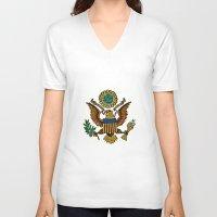 patriotic V-neck T-shirts featuring Patriotic Eagle by manderjack