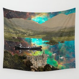 CANOEING IN THE NEBULA NEAR THE CASTLE Wall Tapestry
