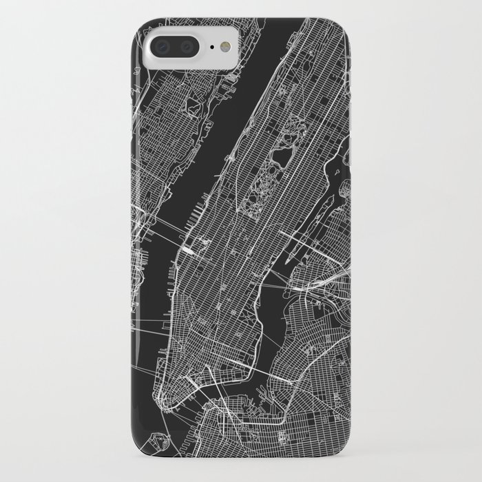 New York City Black Map iPhone Case