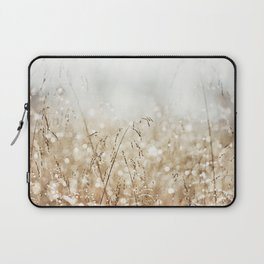 Dewdrop Nature Photography, Neutral Dew Drop, Gold White Brown Beige, Cream Water Drops Laptop Sleeve