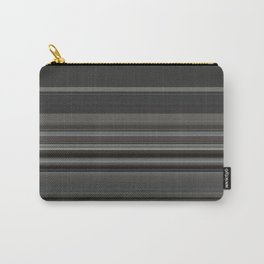Classic Taupe Dark Grey Stripes Carry-All Pouch
