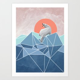 Polar Bear live in North Pole Art Print