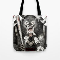 tarantino Tote Bags featuring Inglourious Basterds (Quentin Tarantino) The Bear Jew by ARTbyGB